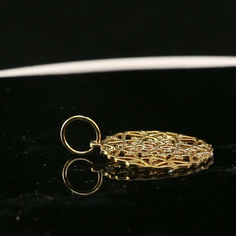 22k Pendant Solid Gold ELEGANT Simple Floral With Stones Pendant P1530