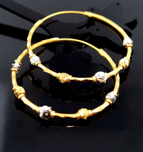 22k Jewelry Solid Gold ELEGANT LARGE HOOP EARRINGS MODERN DESIGN E1058 | Royal Dubai Jewellers