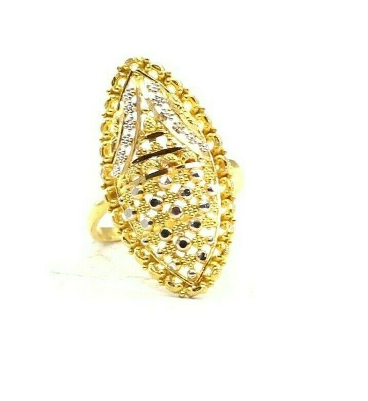 22k Ring Solid Gold ELEGANT Charm Ladies Two Tone Ring SIZE 6.5