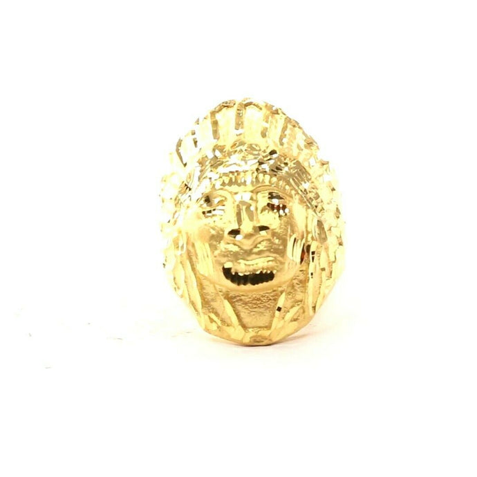 22k Ring Solid Gold ELEGANT Charm Chief Native Indian Ring