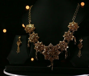 22k Beautiful Charm Solid Gold Classic Antique Necklace Set For Ladies #LS191