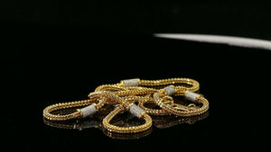 "22k Chain Yellow Solid Gold Chain Necklace Foxtail Design Charm Length 18"" c3189"