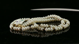 "22k Chain Yellow Solid Gold Chain Necklace Pearl Design Charm Length 16 ""c905"