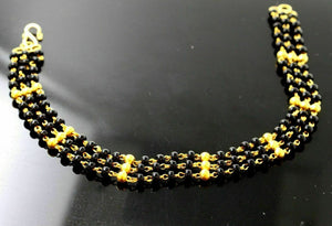 22k 22ct solid gold designer broad bracelet with black beads bracelet CB1119 | Royal Dubai Jewellers