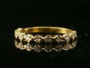 "22k Ring Solid Gold ELEGANT Charm Multi Stone Band  SIZE 7.75 ""RESIZABLE"" r2147"