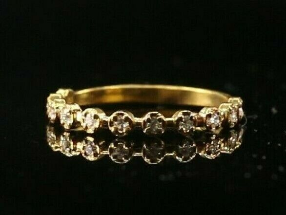 22k Ring Solid Gold ELEGANT Charm Multi Stone Band  SIZE 7.75