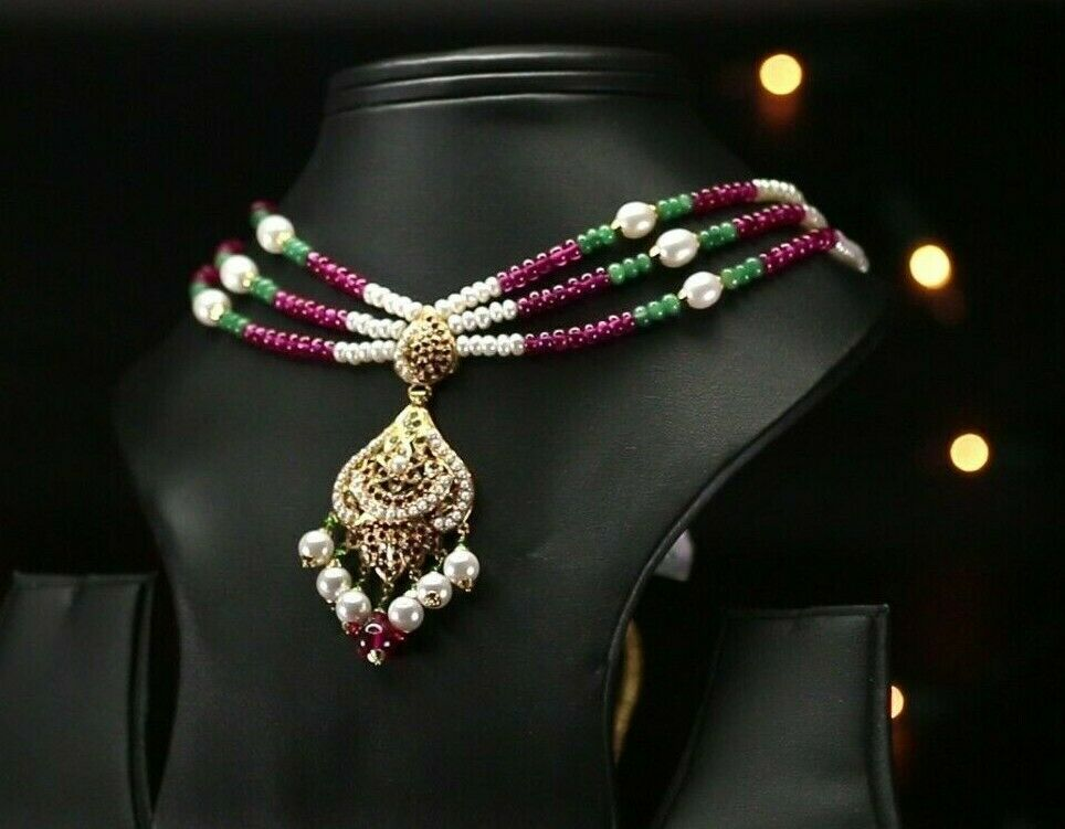 22k Beautiful Charm Solid Gold Traditional Stone Necklace Set For Ladies LS150