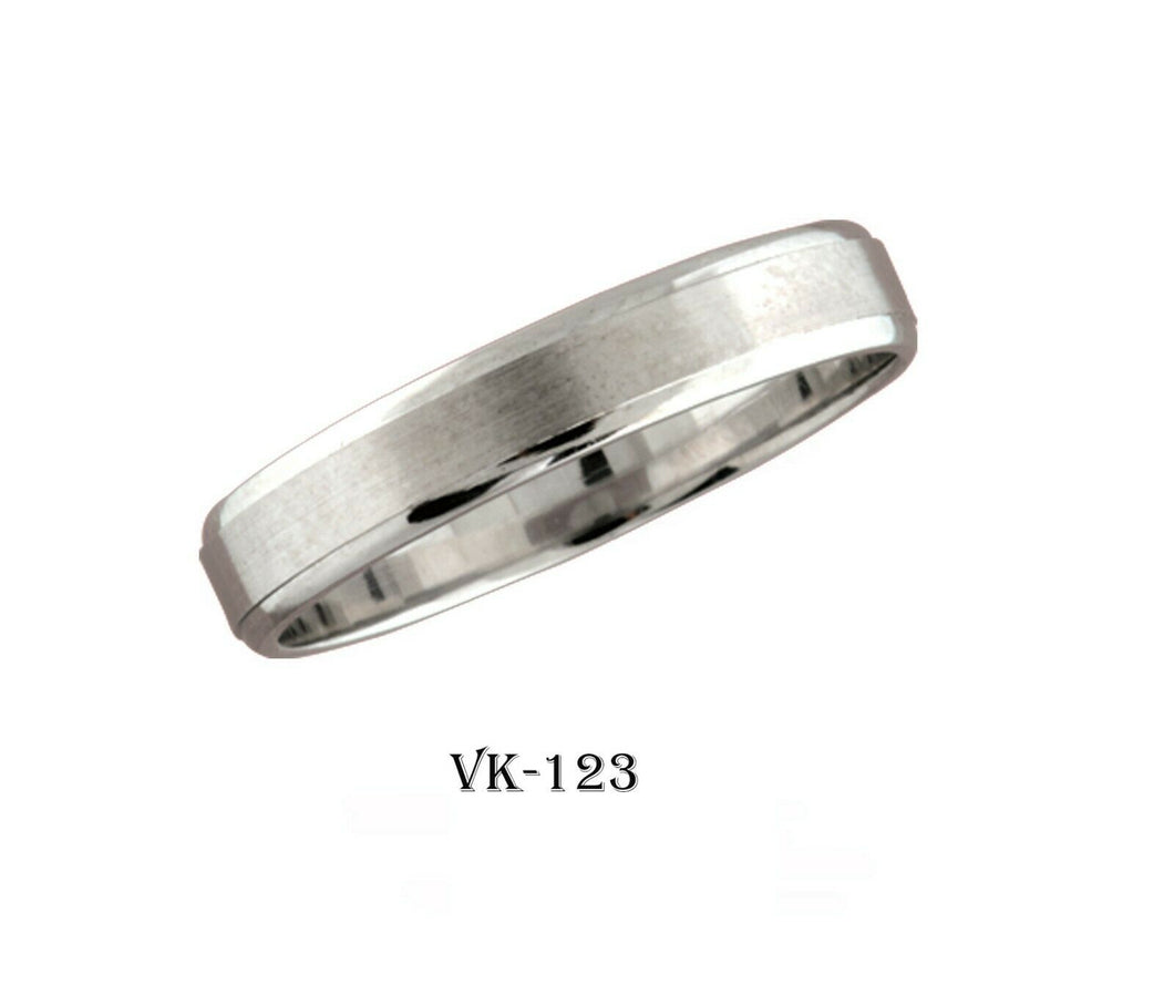 18k Solid Gold Elegant Ladies Modern Bead Finishes Flat Band 4MM Ring VK123v
