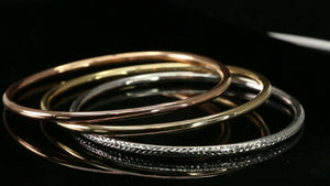 22k Bangle Solid Gold Simple Dazzling Tri Color Set Modern Bangle Design B4190