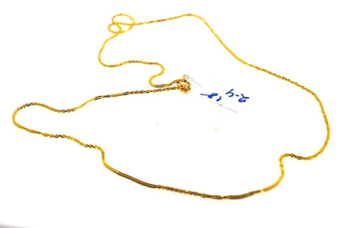 22k Chain Yellow Solid Gold Necklace Exquisite Modern Thin RopeLink Design c1105
