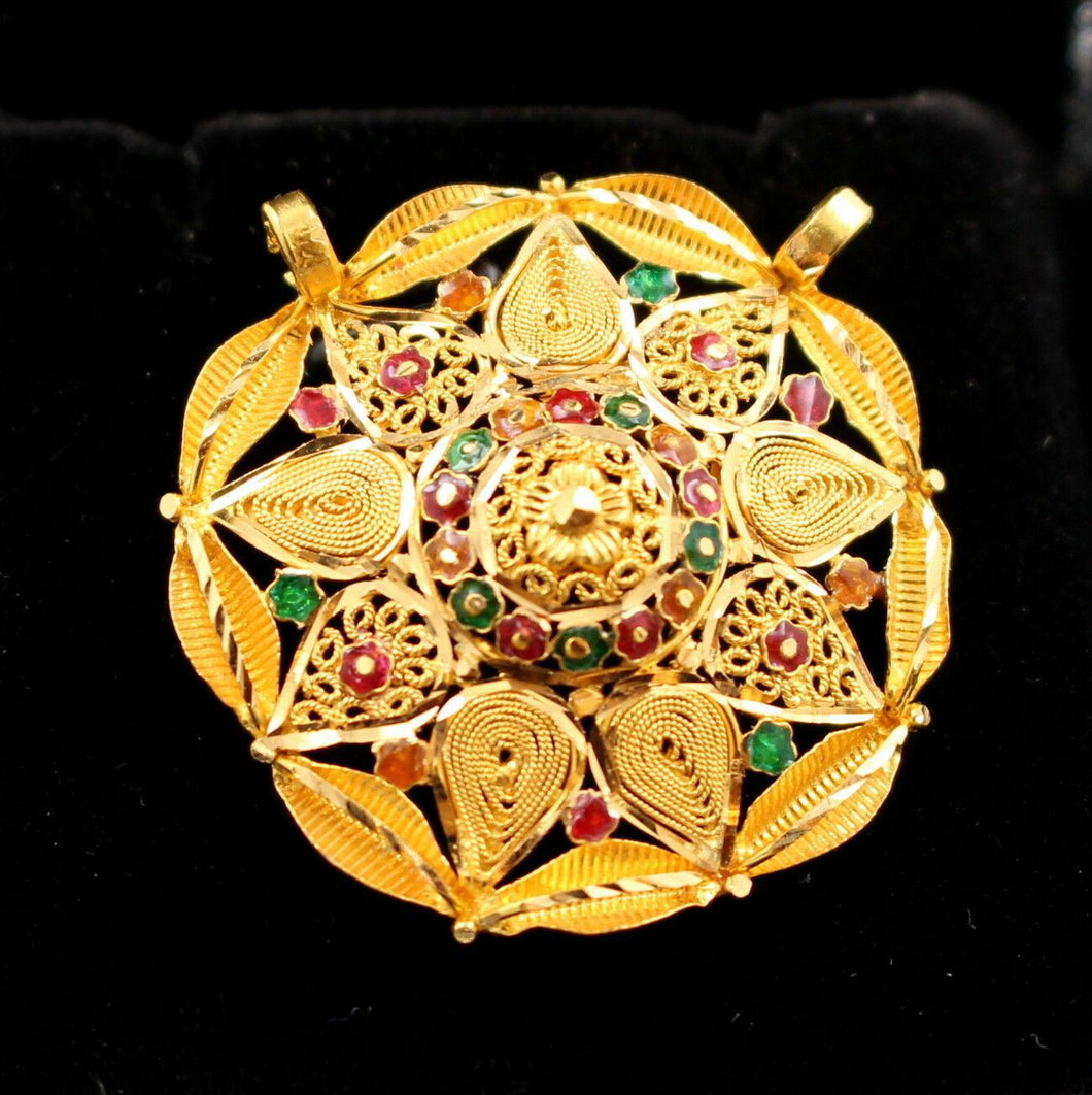 22k 22ct Solid Gold Elegant Antique Design Stunning Floral Round Pendant p678 | Royal Dubai Jewellers