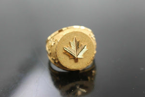 22k Ring SOLID Gold Canadian Flag canada Maple Leaf Mens Ring Band RESIZABLE mf