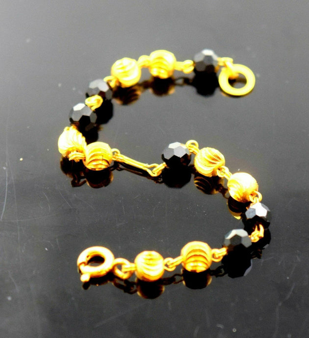 22k 22ct Solid Gold ONYX ELEGANT NAZARIYA BABY KID BRACELET bangle cuff cb298 | Royal Dubai Jewellers