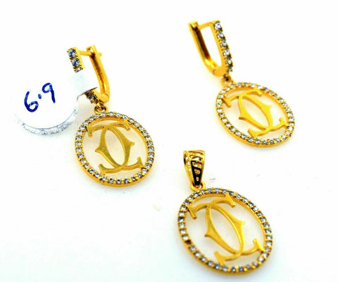 22k 22ct Solid Gold ELEGANT STONE CHANNEL Pendant Set EARRING S13 | Royal Dubai Jewellers