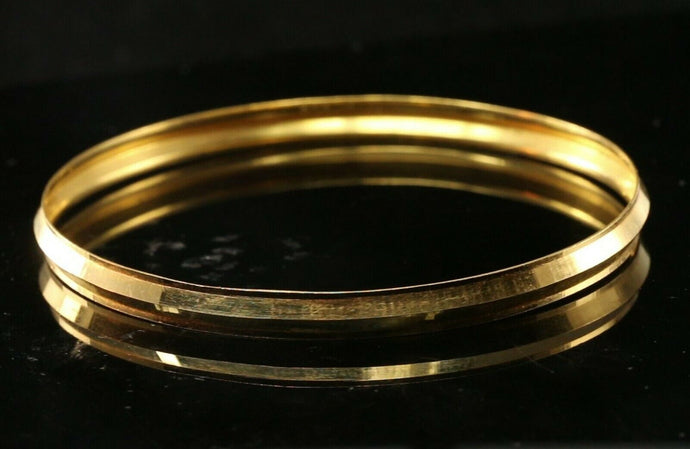22k Bangle Solid Gold Simple Plain Men Kara Design Size 2.78 inch B1173 | Royal Dubai Jewellers