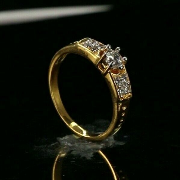 22k Ring Solid Gold ELEGANT Charm Simple Ring SIZE 6.5