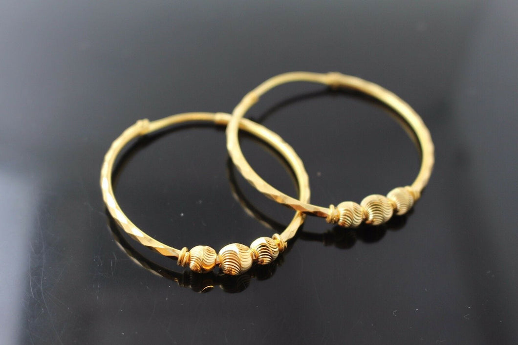 22k 22ct Solid Gold ELEGANT Extra Large Hoops Earring Modern Design e5121 | Royal Dubai Jewellers