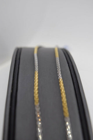 22k Chain Yellow Solid Gold Necklace Exquisite Modern Two Tone Link Design c1075 | Royal Dubai Jewellers