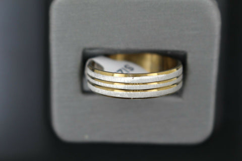 18k Solid Gold Elegant Ladies Modern Sand Finish Band Ring R9241m