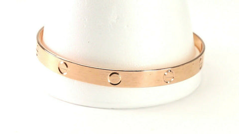 18k Bangle Solid Gold Simple Charm Diamond Cut Men Design Size 3 inch B4229