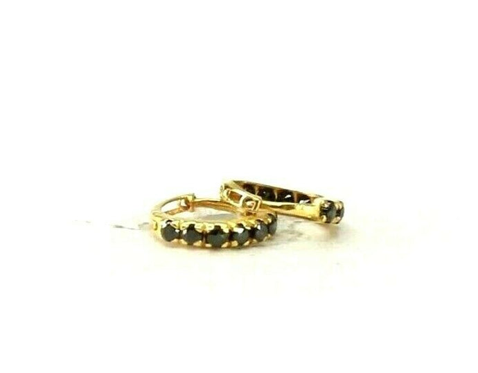 22k Earrings Solid Gold ELEGANT Simple Onyx Stones Encrusted Hoops Design E8238