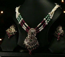 22k Beautiful Charm Solid Gold Classic Jadau Necklace Set For Ladies LS138