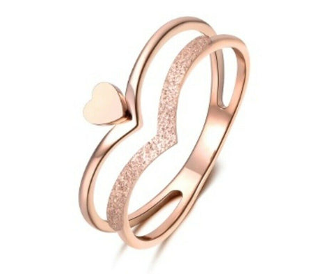 Solid Rose Gold Ring Simple Double Band Heart Symbol Design SM5