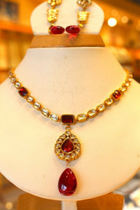 22k 22ct Solid Gold Elegant Traditional Kundan Set Necklace with STONE KS104 | Royal Dubai Jewellers