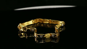 22k Bracelet Solid Gold Simple Dazzling Men Exquisite Modern Design B4155