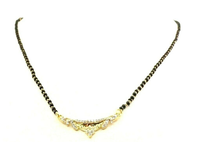 22k Yellow Solid Gold Chain Necklace Mangulsutra Design Length 16 inch C3130