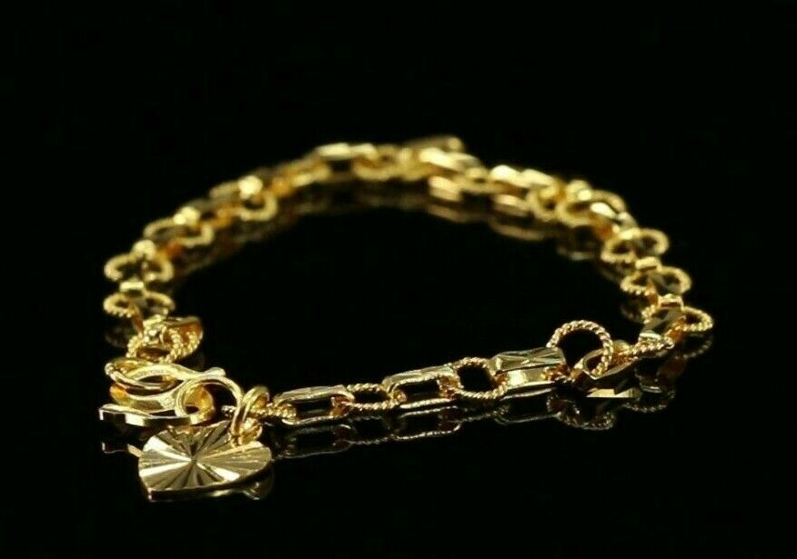 22k Bracelet Solid Gold Simple Children Plain Diamond Cut Rolo Adjustable cb1349