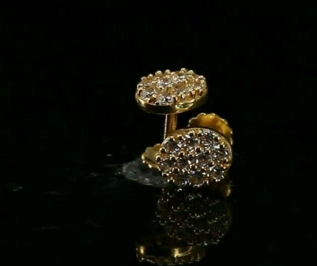 22k Earrings Solid Gold ELEGANT Simple Stones Encrusted Studs Design E8220