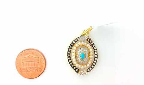22k Solid Gold Pendant Elegant Design with turquoise pearl and dimonelle p0202 | Royal Dubai Jewellers