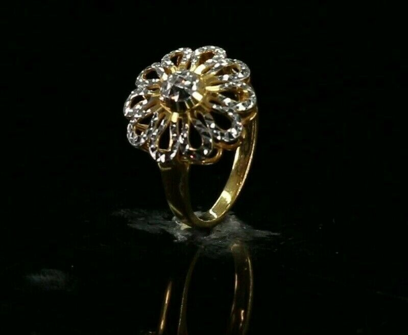 22k Ring Solid Gold ELEGANT Charm Simple Floral Ring SIZE 7