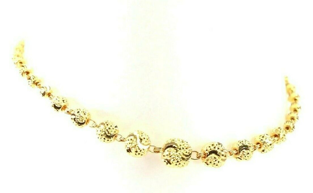 22k Bracelet Solid Gold Simple Dazzling Diamond Cut Beads Design B4205