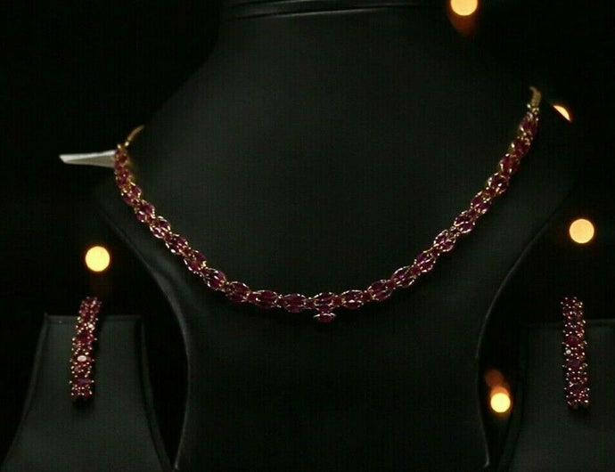 22k Beautiful Charm Solid Gold Classic Ruby Necklace Set For Ladies #LS171