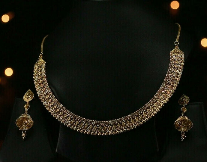 22k Beautiful Solid Gold Classic Flat Filigree Necklace Set For Ladies LS187