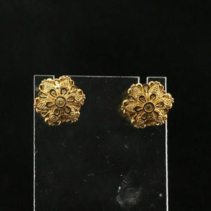 22k 22ct Solid Gold ELEGANT Simple Filigree Studs Earrings Design E7002