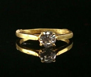 "22k Ring Solid Gold ELEGANT Charm Solitaire Band  SIZE 4.25 ""RESIZABLE"" r2112"