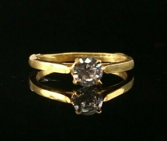 22k Ring Solid Gold ELEGANT Charm Solitaire Band  SIZE 4.25