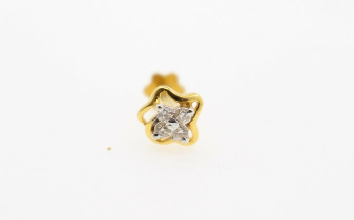 Authentic 18K Yellow Gold Charm Nose Pin Stud Diamond VS2 n326 | Forever22karat