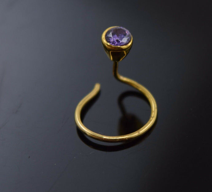 Authentic 18K Yellow Gold Nose Pin Ring Light Purple Birth Stone February n024 | Forever22karat