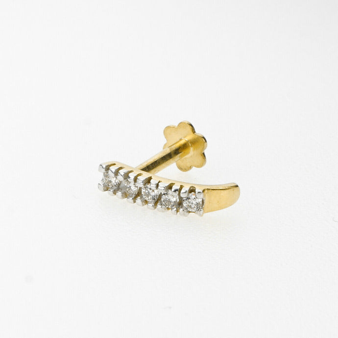 18k Stunning Modern Diamond Solid Gold Nose pin Unique Design Comfort Fit NP8