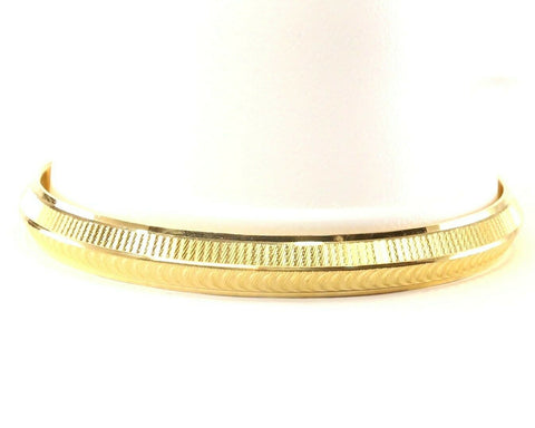 22k Bangle Solid Gold Simple Diamond Cut Mens Kara Design Size 3 inch B1169 | Royal Dubai Jewellers