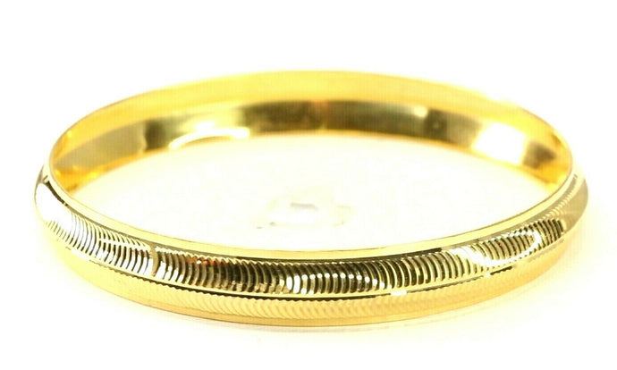 22k Bangle Solid Gold Simple Charm Diamond Cut Men Design Size 2.75 inch B4214
