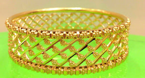 22k Bangle Solid Gold Diamond Cut Designer Bracelet Bangle Cuff 6 SIZES mf