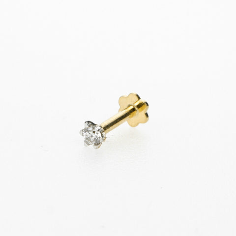 18k Stunning Modern Diamond Solid Gold Nose pin Unique Design Comfort Fit NP12