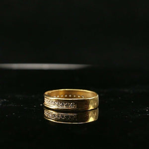 "22k Ring Solid Gold ELEGANT Charm Ladies Channel Band SIZE7.25 ""RESIZABLE"" r2148 - Royal Dubai Jewellers"