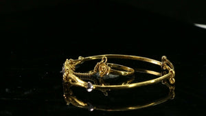 22k Bangle Solid Gold Simple Plain Two Tone Bangle with Ring Set cb1302 - Royal Dubai Jewellers
