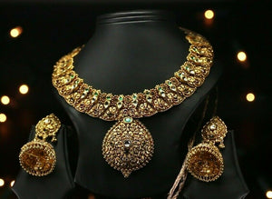 22k Necklace Set Beautiful Charm Solid Gold Classic Jadau  For Ladies LS149